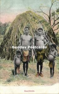german south west africa, Native Bushmen San Family, Topless Nude Woman (1910s)