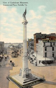 LPS14 Norfolk Virginia View of Confederate Monument Commercial Place Postcard