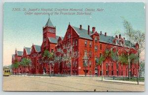 Omaha Nebraska~Trolley at St Joseph's Hospital~Creighton Memorial~c1910 Postcard