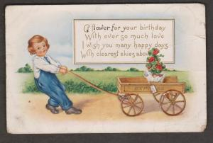 Birthday Greetings Child Pulling Wagon & Flowers - Used 1916 - Heavy Creasing