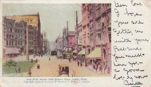 Trolleys & Carts on First Avenue from Pioneer Place, Seattle, Washington 1904