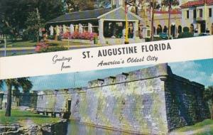 Florida Greetings From St Augustine Showing Old Slave Market and Castillo De ...