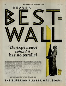 1927 Beaver Best Wall Superior Plaster Wall Board Vintage Print Ad 3893