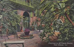 Louisiana New Orleans Courtyard In French Quarter 520 Royal Street 1954 Curteich