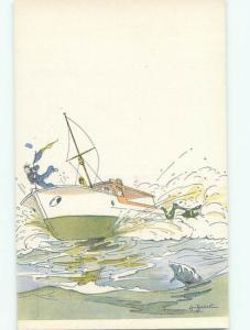 foreign 1931 Postcard signed SAILOR GETS THROWN FROM SAILBOAT BOAT AC3264