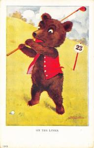 Artist Signed MDS Ullman Sporty Bears Golf Postcard