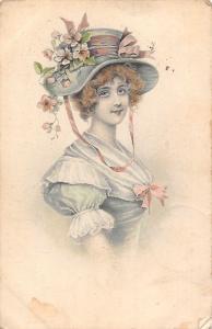 Postcard Fancy hat, beautiful, fantasy, femme, dame, 1911