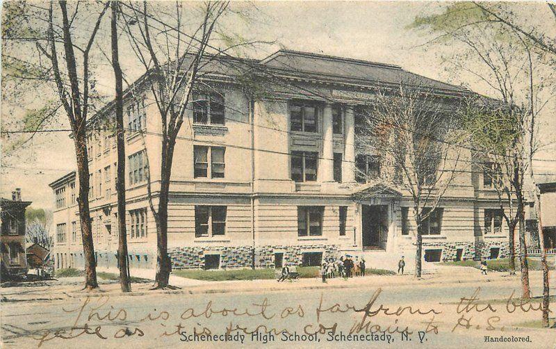 Hand colored High School 1908 Schenectady New York Rotograph postcard 10010