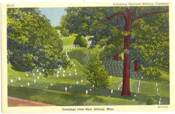 Vicksburg National Military Cemetery, Greetings from New Albany, MS, Linen