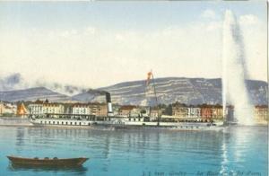 Switzerland, Geneve, Geneva La Rade et le Jet d'eau, earl...