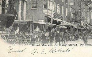King Street Market Wagons People Wilmington DE c1905