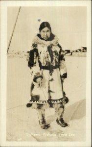 Eskimo Ice Fishing c1940s Real Photo Postcard - Publ in Fairbanks AK