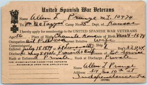 c1920s United Spanish War Veterans POSTCARD / Membership Application