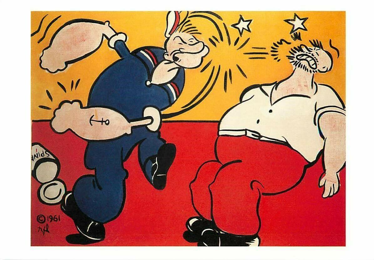 Popeye Punching by Roy Lichtenstein Pop Art Painting Postcard ...