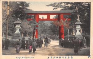 Nara Japan~Temple Kasuga~Crowd Entering Red Letter Gate~Traditional Dress~c1920