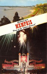 Memphis Tennessee~Banner Greetings~Fireworks Cotton Carnival~Riverside~1950s PC