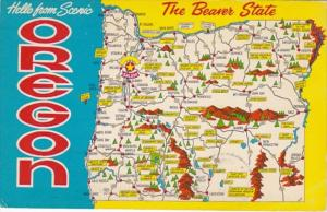 Greetings From Oregon With Map 1968