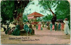 SALEM, Massachusetts Postcard Cadet Band at SALEM WILLOWS Park / 1913 Cancel