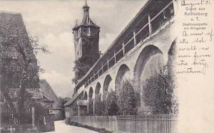 Stadtmauerpartie mit Klingentor, Rothenburg ob der Tauber, Bavaria, Germany, ...