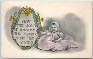 Vintage EASTER Postcard Baby in Bonnet w/ Colored Eggs HAND-COLORED 1918 Cancel