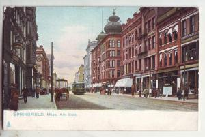 P796 old card main street view people horse wagons trolley springfield mass