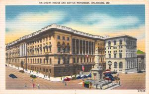 Court House and Battle Monument, Baltimore, MD, Early Postcard, Unused