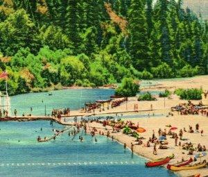 Vtg Linen Postcard Russian River California - Enjoying the russian river UNP