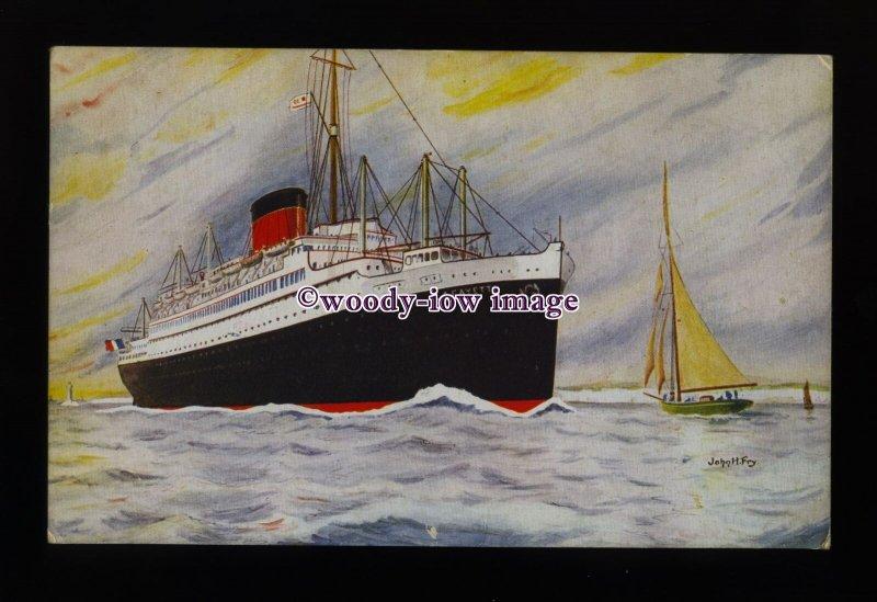 LS1458 - French CGT Liner - Lafayette - postcard - artist John Fry