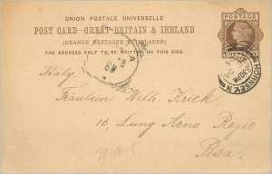 Entier Postal Stationery Postal Great Britain Great Britain 1905 Hornsey to Pisa