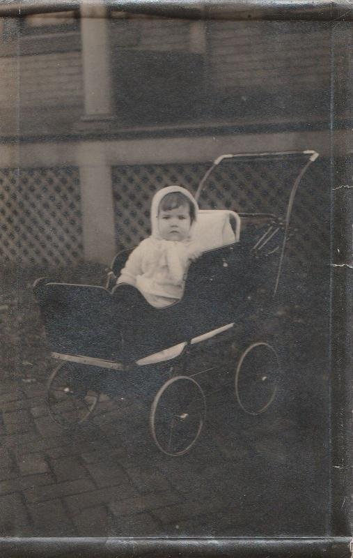 Real Photo Postcard~Bundled Up Baby in Vintage Baby Buggy~Carriage~c1912 RPPC
