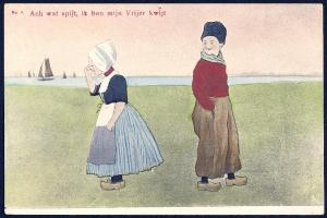 'Alas I Lost my Suitor' Dutch Boy & Girl Unused c1905