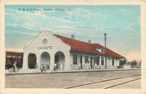 CHANUTE, KS Kansas      M K T  Railroad DEPOT     c1920s     Postcard