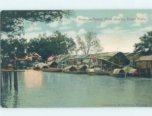 Old Postcard CANTON RIVER HOUSE BOATS Published In Hong Kong China F4637