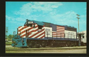 Katy 200 MKT 1975 Bicentennial 50 Star USA Flag Engine Color Postcard Unposted