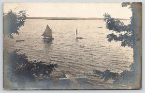 Rockland? WI~La Crosse River Sailboats~Dock~Janesville Mrs Fred G Eddy~1907 RPPC