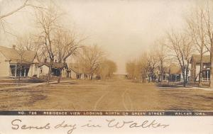 Walker Iowa~Green Street North Residences~Homes Both Sides~Scrub Day~1908 RPPC