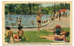 Swimming Pool Maurer Lake Excelsior Springs Missouri postcard