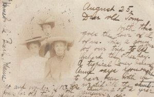 RP: Portrait of three ladies in hats, KENNEBUNKPORT , Maine , PU-1904