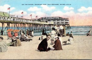 Maine Old Orchard Beach On The Sands Showing Pier 1947