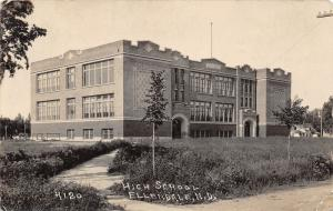 Ellendale North Dakota~High School~Young Trees in Front~1924 RPPC Postcard
