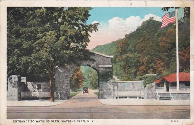 New York Watkins Glen Entrance To Watkins Glen 1928 Curteich