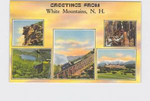 BIG LARGE LETTER VINTAGE POSTCARD GREETINGS FROM NEW HAMPSHIRE WHITE MOUNTAINS #
