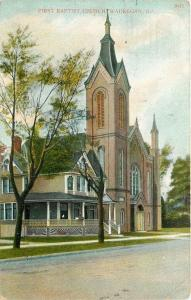 Waukegan Illinois~First Baptist Church~Nice House Next Door~1908 Postcard