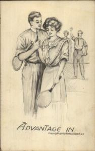 TENNIS Romance - Advantage In c1910 Postcard