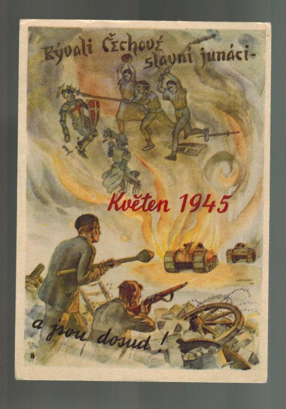 Mint Liberation Czechoslovakia 1945 Partisan Against German Tanks Postcard WW2