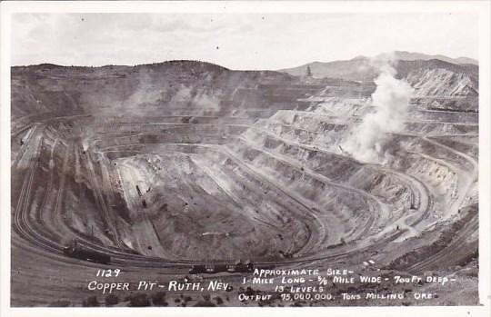 Copper Pit Ruth Nevada Real Photo