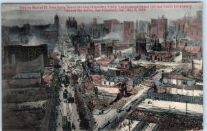 SAN FRANCISCO  Hand colored MARKET STREET after Quake - Temporary Trolley Line