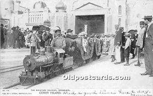 Amusement Park Postcard Post Card The Miniature Railroad, Dreamland Coney Isl...