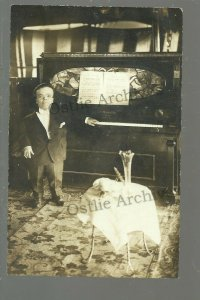 RPPC 1912 CIRCUS MIDGET Dwarf ADVERTISING ORGAN Piano PLAYER PIANO Coin Operated