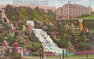 Illinois Chicago Waterfalls And Rock Garden In Olson Park Surrounding Olson R...